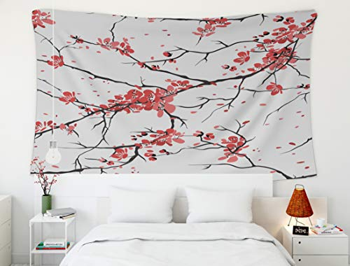 Crannel Christmas Cherry Sakura Pattern Background Tapestry 80x60 Inches Wall Art Tapestries Hanging for Dorm Room Living Home Decorative