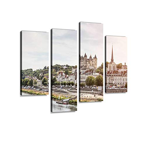 (Panoramic View of Saumur - Loire Valley (France) Canvas Wall Art Hanging Paintings Modern Artwork Abstract Picture Prints Home Decoration Gift Unique Designed Framed 4 Panel)
