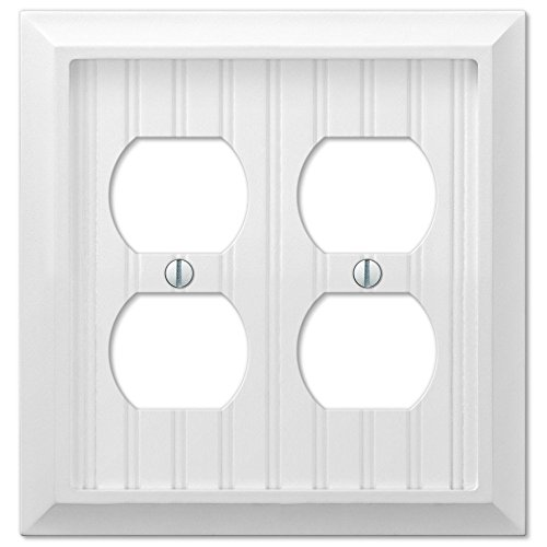 Cottage White Wood Double Duplex Outlet Wall Switch Plate Cover (Cape Cod Outlets)