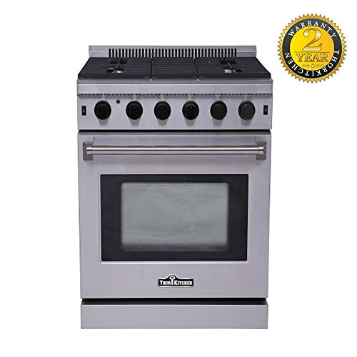 """Thor Kitchen 30"""" - 4.55 cu. ft Freestanding Range Electric Oven with Slide- in 5 Burners Gas Range - Stainless Steel - 2-Years-Warranty - LRG3001U (With LP Conversion Kit)"""