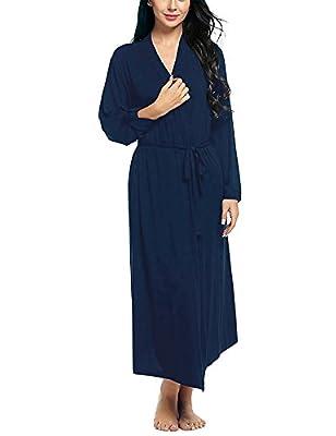Dromild Women Robe Soft Modal Bathrobe Cotton Kimono Long Sleepwear Lounge wear S-XXL
