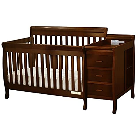 Athena Kimberly 3 in 1 Crib and Changer with Toddler Rail, Espresso - 3 Drawer Combo Changer