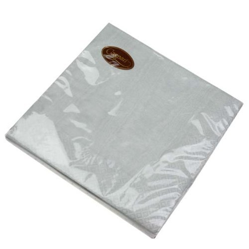 Pack Of 20 Dinner Paper Napkins - Silver Moire Design by Fizzco