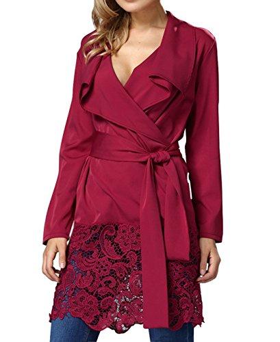 Damen Mode Petticoat Revers Schrittrock SpitzenBesatz Abiballkleid Lange  ärmel Ballkleid Taillenband Blusenkleider Loose Blusen Kleid Sommer  Strandkleider