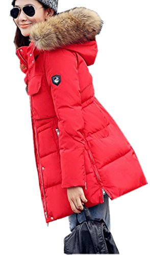 Zip Women's Thicken Padded Hooded Warm Down Down Red Fur Winter Coat WLITTLE Faux Slim Long Up Outerwear Jacket Parka 1OdqyPpyx