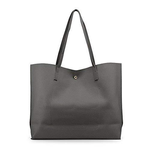 OCT17 Women Tote Bag - Tassels Faux Leather Shoulder Handbags, Fashion Ladies Purses Satchel Messenger Bags (Dark Gray) by OCT17 (Image #9)