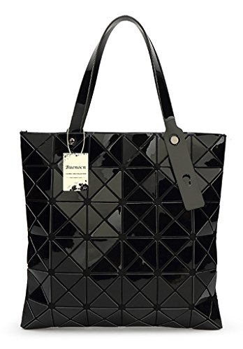 Womens Checkered Tote Bag,PU Leather Geometric Diamond Split Joint Shoulder Bag Top Handle Bag (Black) by Buenocn