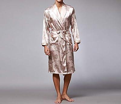 Summer-lavender Men Robe Home Silky Long Bathrobe Brand Faux Silk Long Male Sleep Robe L-3XL Robes