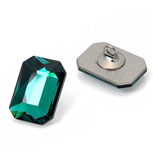 Swarovski 2602 Emerald Cut Flatback Rhinestone Button by pc, 14x10mm, Emerald