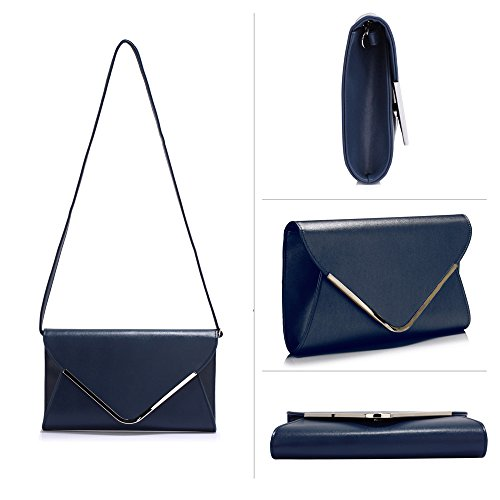Large Navy Stunning Flap Stunning Clutch Purse Navy FREE DELIVERY UK qO7wvtx4n