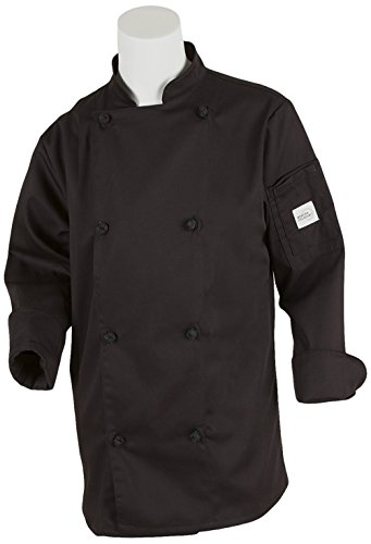 (Mercer Culinary M61040BK3X Genesis Women's Chef Jacket with Cloth Knot Buttons, 3X-Large, Black)