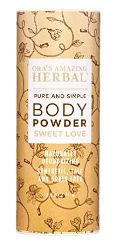 (Natural Body Powder, Dusting Powder, No Talc, Corn, Grain or Gluten, Sweet Love Scent (Essential Oils Vanilla Amber Ylang Ylang and Frankincense), non GMO, Ora's Amazing Herbal (Sweet Love Scent) )