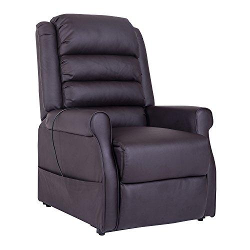 homcom 700-021BN Fernsehsessel Massagesessel Aufstehsessel Relaxsessel, Lederimitat, braun, 83 x 88 x 110 cm
