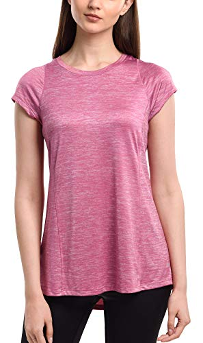 SPECIALMAGIC Women's Workout T-Shirt Athletic Short Sleeve Round Neck Yoga Tops Loose Fit Rosy X-Large ()