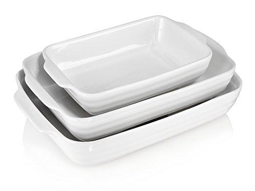 Bluespoon Auflaufform Set 3 teilig aus Porzellan | 1,5 L | 2,5 L | 3,5 L | Bereiten Sie Lasagne, Auflauf oder Gratin in der beliebigen Menge zu