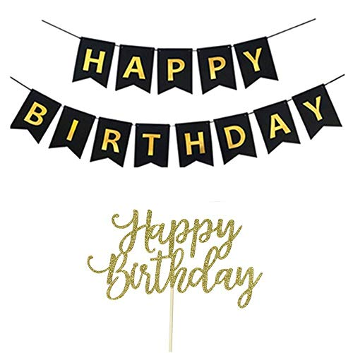 YOFEY1 Happy Birthday Banner, Happy Birthday Cake Topper, Black and Gold -