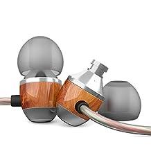 APIE Premium Genuine Wood Corded In-ear Headphones Earbuds Heavy Bass Noise Cancelling Earphones with Microphone