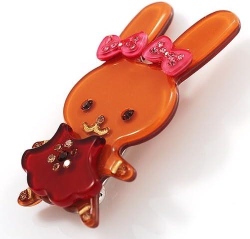 Avalaya Pretty Ligth Brown Bunny Girl Plastic Brooch