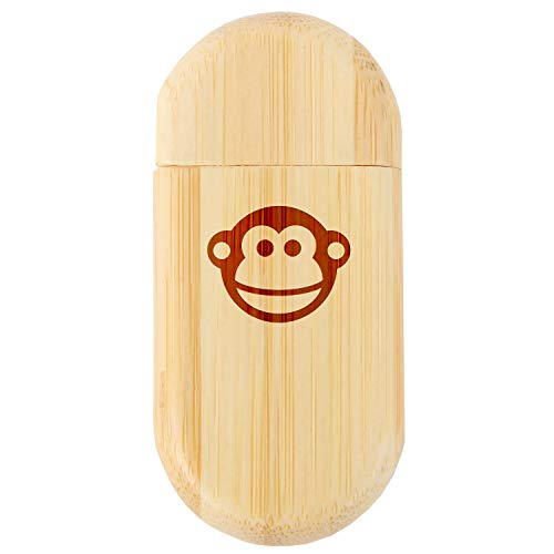 Monkey Face 8Gb Bamboo USB Flash Drive with Rounded Corners - Wood Flash Drive with Laser Engraving - 8Gb USB Gift for All Occasions