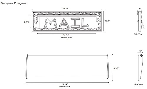 Naiture 13'' Classic Heavy Duty''Mail'' Letter Slot in Antique Brass Finish by SH (Image #1)