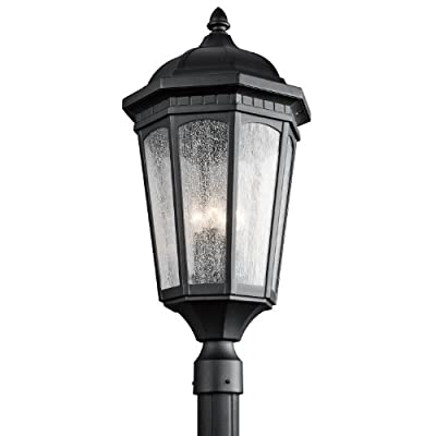 Kichler 9533BKT Courtyard Outdoor Post Mount 3-Light, Textured Black