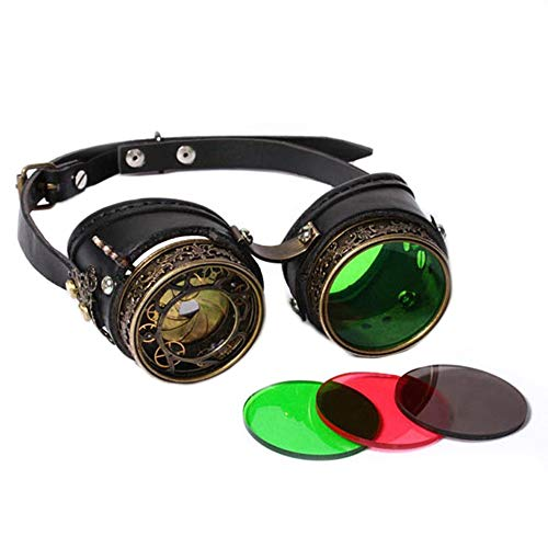 Trendy Retro Sunglasses Cosplay Halloween Party Masquerade Props Steampunk Glasses Vintage Punk Goggles Fashionable Tones]()