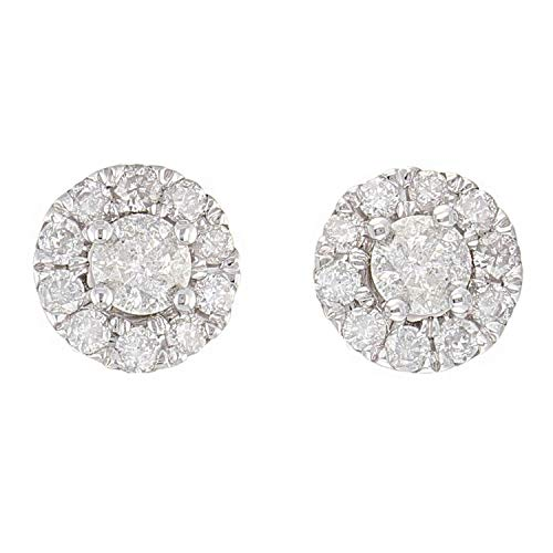 - 14K White Gold Diamond Stud Round Earrings with Friction Back (0.75 cttw, I-J Color, I1-I2 Clarity)