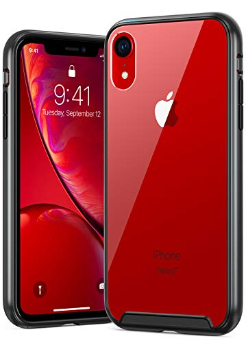GEARART iPhone XR Case, Clear Hard Hybrid Protective Cover with Matte Bumper and Shockproof Soft TPU Inner Case for Apple iPhone XR 6.1 Inch, Black