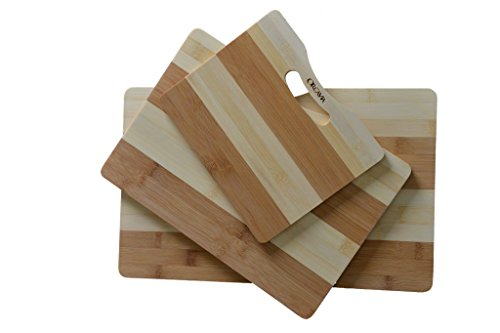 Bamboo cutting board 3 piece premium quality set by Orcavia - Extra thick two tone PRIME Promotion