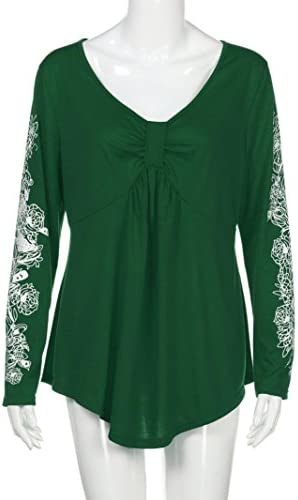 Plus Size Women Deep V Neck Sexy Blouse Floral Long Sleeve Casual T-Shirt