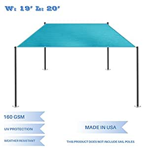 E&K Sunrise 19' x 20' Turquoise Green Rectangle Sun Shade Sail Outdoor Shade Cloth UV Block Fabric,Straight Edge-Customized Sizes Available