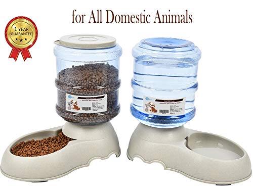 🥇 YGJT Comederos Automáticos de Alimentos/Fuente de Agua Automática para Perros Gatos y Mascotas- 2 Piezas- 3.75L Cuenco Accesorio Dispensador para Mascotas