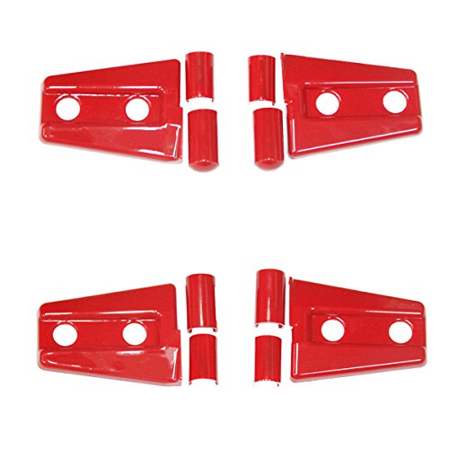 MOEBULB Engine Hood Hinge Cover Door Molding Trim for Jeep Wrangler JK 2007-2016 (2-Door, 4pcs/set, Red)
