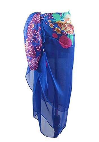 (MissShorthair Womens Chiffon Plus Size Beach Sarong Wrap Pareo Swimwear)