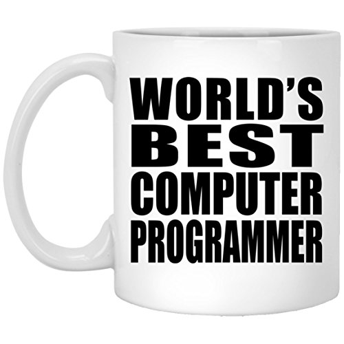 (Designsify World's Best Computer Programmer - 11 Oz Coffee Mug, Ceramic Cup, Best Gift for Birthday, Anniversary, Easter, Valentine's Mother's Father's Day)