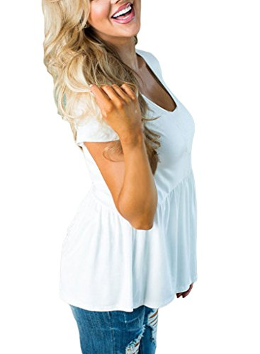 Annflat Women's V Neck Short Sleeve Peplum Babydoll Tunic Tops XX-Large White
