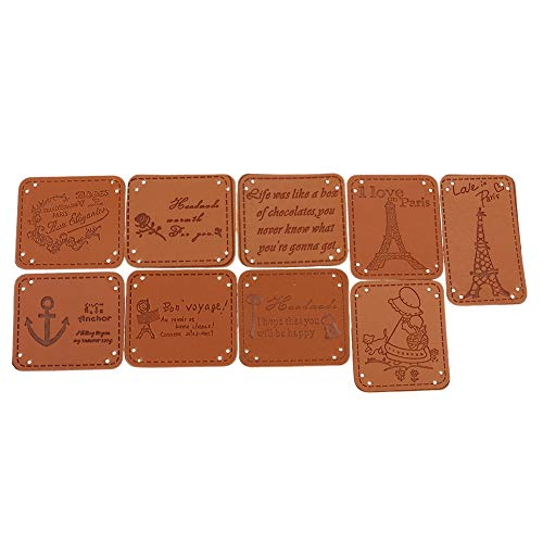 Cacys-Store - 9pcs Brown PU Leather Tags On Clothes Garment Labels For Jeans Bags Shoes Sewing Tools ()