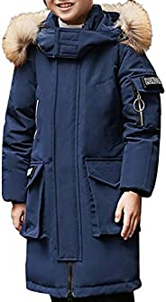 jiayou Kid Child Boy Hooded Thick Winter Parka Mid Long Duck Down Jacket Overcoat