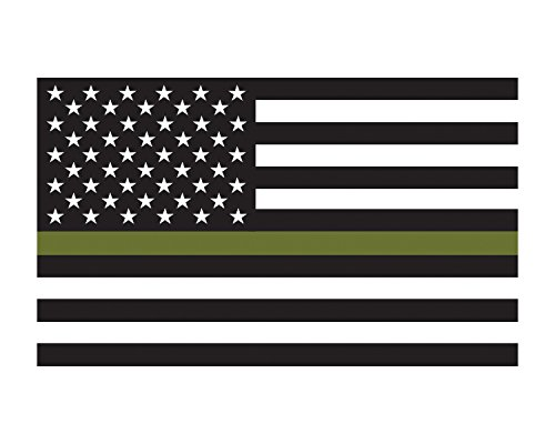 Morale Tags Military Support Flag American Flag Thin Green Line Flag 3x5 Vinyl Decal Sticker for Cars Trucks Laptops etc.3x5 (Black and White) (Black and White)