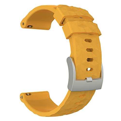 (Sunward Sports Breathable Silicone Bracelet Strap for Suunto Spartan Sport Wrist HR Baro/Suunto 9 Smartwatch, Soft and Durable (Yellow))