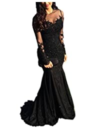 BB Women's Lace Sheer Long Sleeves Mermaid Evening Formal Prom Dress