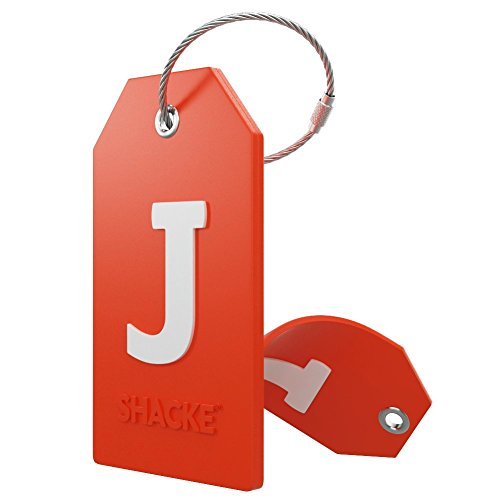 Initial Luggage Tag with Full Privacy Cover and Stainless Steel Loop - (Letter J)