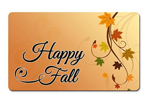 AMdesign Happy Fall Autumn Leaves Decorative Floor Mat 18x30 inch Doormat Non-Slip Backing.