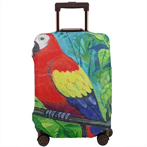 Luggage Cover Colorful Parrot Bird Macaw On Tree Personalized Travel Suitcase Cover Protector Bag Dustproof Washable Fits 18-32 Inch Luggage ()
