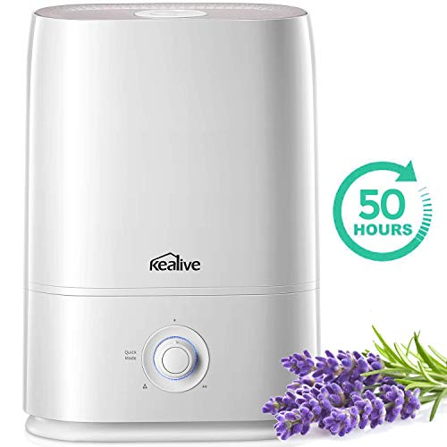 kealive Humidifier, 2020 Upgraded Large Room 5L Cool Mist Humidifier, Quick Mode Design Ultrasonic Humidifiers for Bedroom, Essential Oil Tray, Easy to Fill and Clean, Quiet Operation
