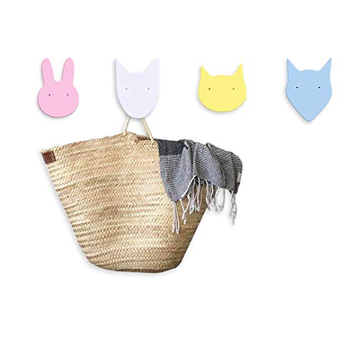 Evibooin Colorful Wall Mounted Cute Decor Animal Hooks Hangers Organizer for Kids (4 Types)