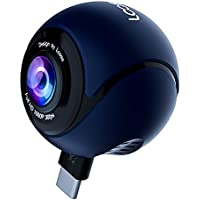 360 Panoramic HD Cameras with Asteroid Fisheye Lens Video Photo Dual Spherical Lens 360 Degree Action Camera for Android Phones (Blue/Black-Round)