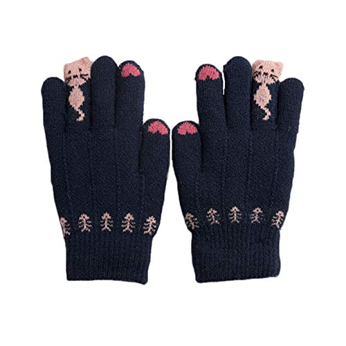 Kids Thick Thermal Gloves Winter Warmer Knit Wool Full Finger Mittens Hand Wear (navy)
