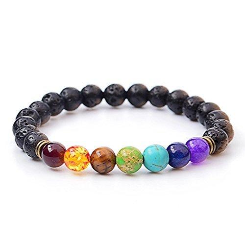 M& B 7 Chakra Meditation Diffuser Bracelet with Lava Stone Beads - Zen Life CHAKRALV12
