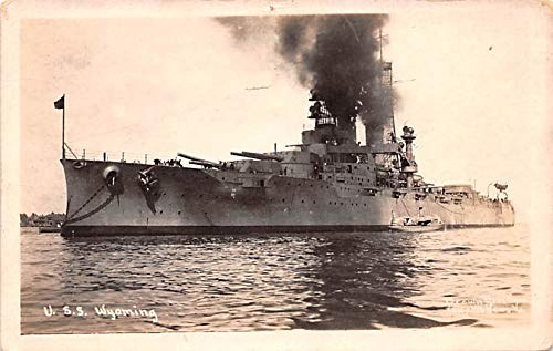 Military Battleship Postcard, Old Vintage Antique Military Ship Post Card USS Wyoming Paper on back
